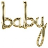 metalic gold script 'baby'