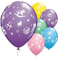 Baby's nursery assorted latex balloons pack of 6