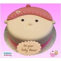 pink hat girl baby shower cake