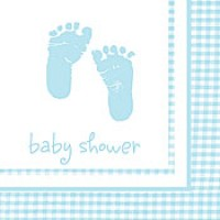 A Baby Boy Plaid Pack of Beverage Napkins