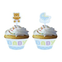 Blue Teddy Bear Cupcake Wrappers with Picks