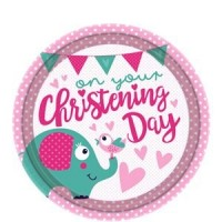 Christening Day Pink Plates