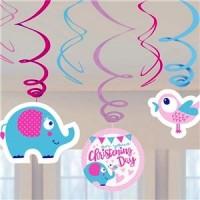Christening Day Pink Swirl Decorations