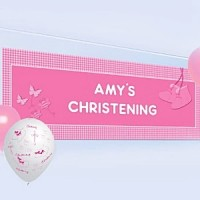 Christening Booties Pink Personalisable Banner - 1.2m