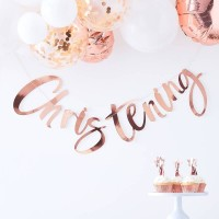 Rose Gold Christening Bunting