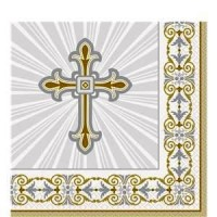 Silver & Gold Radiant Cross Napkins
