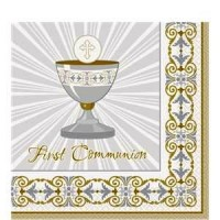 Silver & Gold Radiant Goblet First Holy Communion Napkins