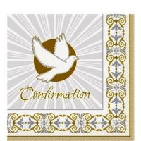 Silver & Gold Radiant Dove Confirmation Napkins