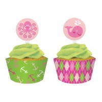 A Pack of Ocean Girl Cupcake Wraps & Picks