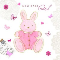 Baby Girl Bunny Card