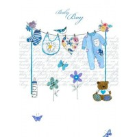 Baby Boy Clothes Line Card