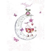 Baby Girl In Moon Card