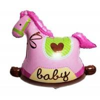A Pink Rocking Horse Super Shape Foil Balloon