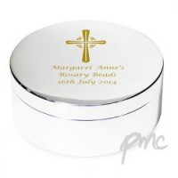 Gold Cross Rosary Bead Trinket Box