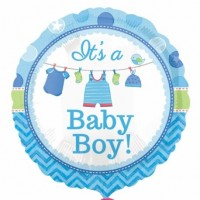 Baby Boy Clothes Line Foil Balloon