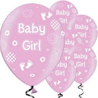 baby girll pink latex balloons