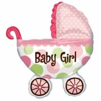 A Giant Baby Girl Pram Foil Balloon