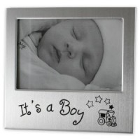 Brushed Silver Boy Photo Frame
