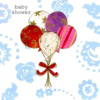 A Bunch of 5 Balloons Baby Shower Greeting Card
