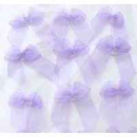 A Pack of 12 Lilac Organza Bows