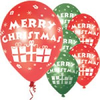 "Merry Christmas Red & Green Presents Balloons - 11"" Latex"