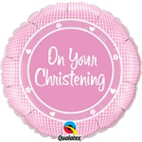 On your Christening Baby Girl Foil Balloon