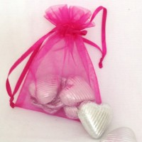 Organza bags with sweets or chocolates & charm