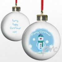 A Personalised Snowman & Snowflake Tree Bauble