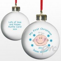 A Personalised Baby Boy's 1st Christmas Bauble
