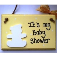 yellow baby shower wooden plaque