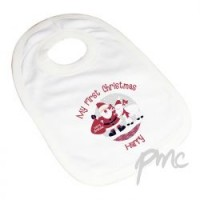 Personalised Rooftop Santa 1st Christmas Bib