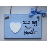 blue baby shower wooden plaque