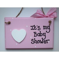 pink baby shower wooden plaque