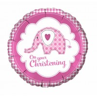 A Baby Girl Elephant Christening Balloon