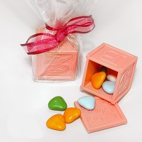 A Pink ABC Baby Block Favour