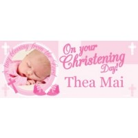 PINK CROSS BLESSINGS GIANT PERSONALISED BANNER