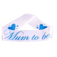 A Mum To Be Satin Sash White/Blue