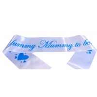 A Yummy Mummy To Be Satin Sash Pastel Blue/Blue