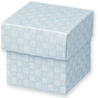 1 Blue & White Gingham DIY Favour box with Lid