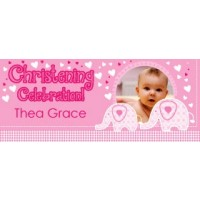 Sweet Baby Elephant Giant Personalised Banner