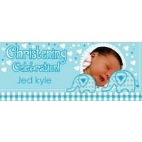 SWEET BABY ELEPHANT BOY GIANT PERSONALISED BANNER
