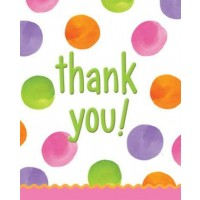 1st Birthday Girl Dots Thank You Card