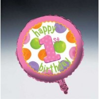 1st Birthday Girl Dots Foil Balloon