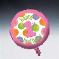 1st Birthday Girl Dots Foil Balloon
