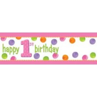 1st Birthday Girl Dots Giant Banner