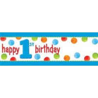 1st Birthday Boy Dots Giant Banner with Letters