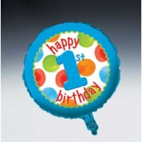 1st Birthday Boy Dots Foil Balloon