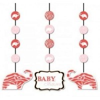 Pink Wild Safari Set of Hanging Decorations