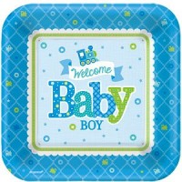 Welcome Baby Boy Plates