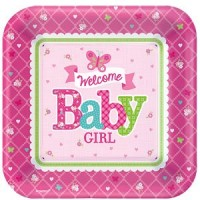 Welcome Baby Girl Plates